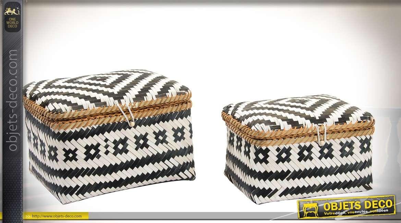 duo de corbeilles bambou tress avec couvercles effets graphiques noir et blanc