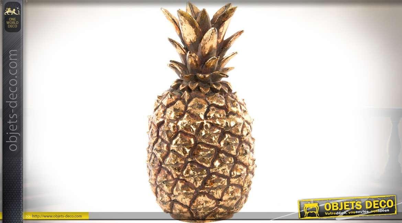 objet d co en r sine ananas aspect m tal dor vieilli 20 cm. Black Bedroom Furniture Sets. Home Design Ideas