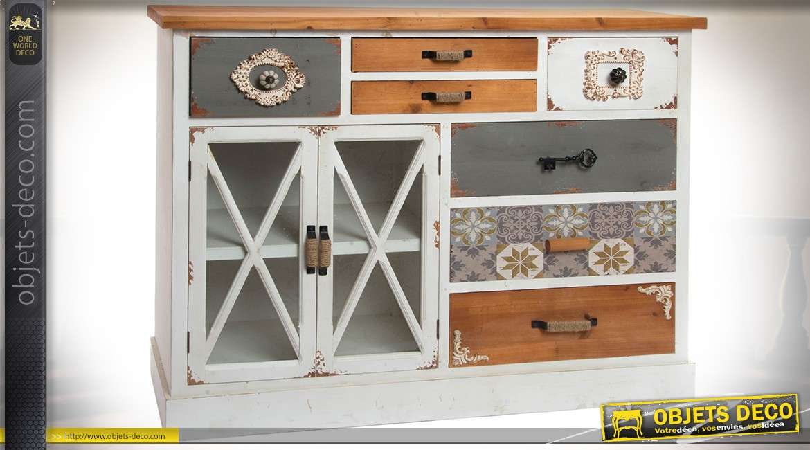 buffet commode 7 tiroirs et 2 portes style cottage finition multicolore ornement e. Black Bedroom Furniture Sets. Home Design Ideas