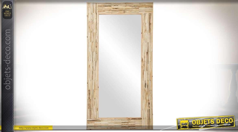Miroir rectangulaire encadrement bois recyclé coloris bois naturel 152 cm