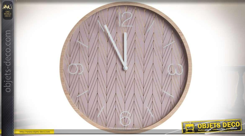 Horloge murale design vintage en bois et m tal coloris vieux rose 33 cm for Horloge murale design bois