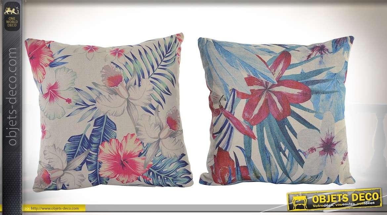 Série de 4 coussins 45 x 45 cm avec motifs de feuillages tropicaux bleu et rouge