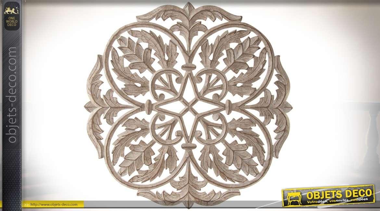 panneau d coratif mural en bois sculpt motifs de. Black Bedroom Furniture Sets. Home Design Ideas