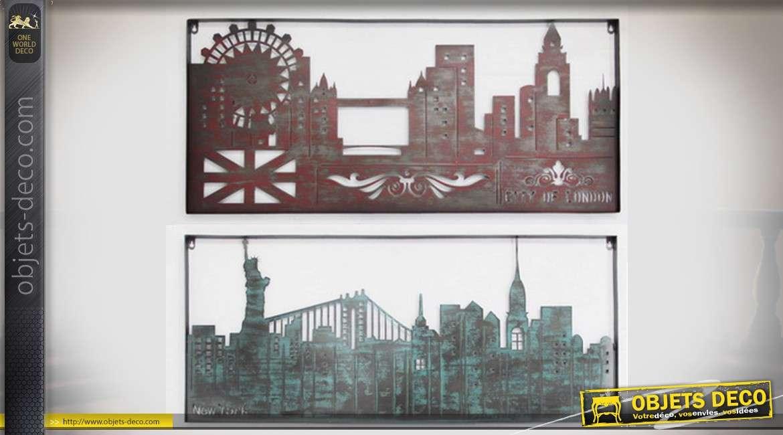 Set de 2 décorations murales en métal Londres et New-York 100.5 cm