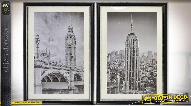 srie de 2 tableaux noir et blanc avec paillettes londres et new york 90 x 60 cm