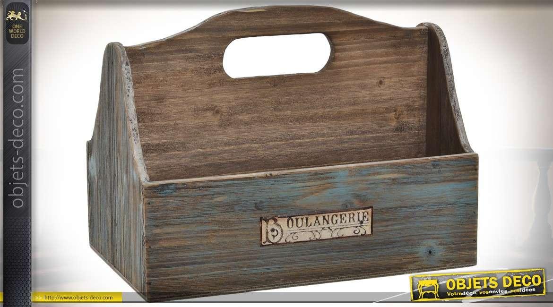 Panier en bois pour rangement des télécommandes et accessoires 30 cm