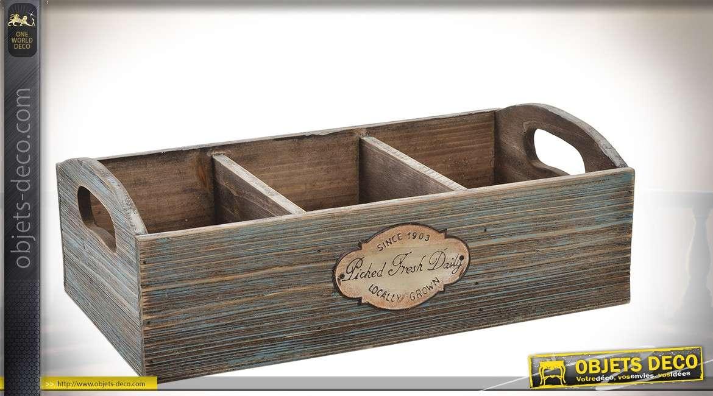 Caissette compartimentée bois aspect ancien médaillon métal cuivré 36 cm