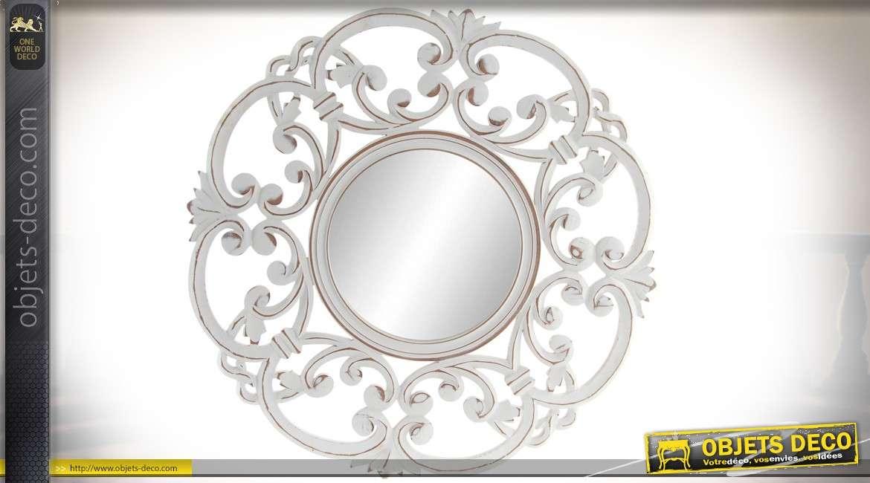 Miroir rond et blanc de style baroque en bois sculpté Ø 60 cm