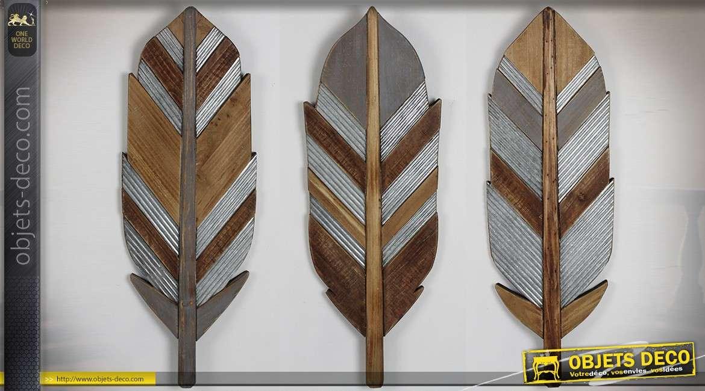 Série de 3 décorations murales en bois en forme de grandes plumes stylisées 66 cm