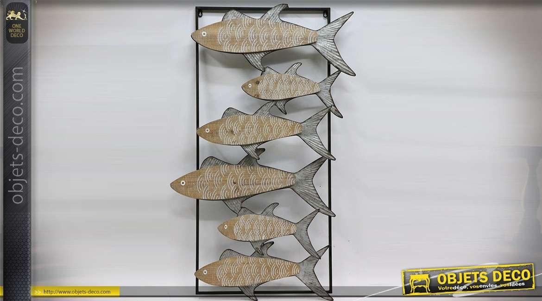 Décoration murale en métal et en relief : banc de poissons stylisés encadré 113 cm
