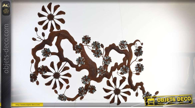 Décoration murale en métal : sarment de vigne et fleurs stylisées 108 cm