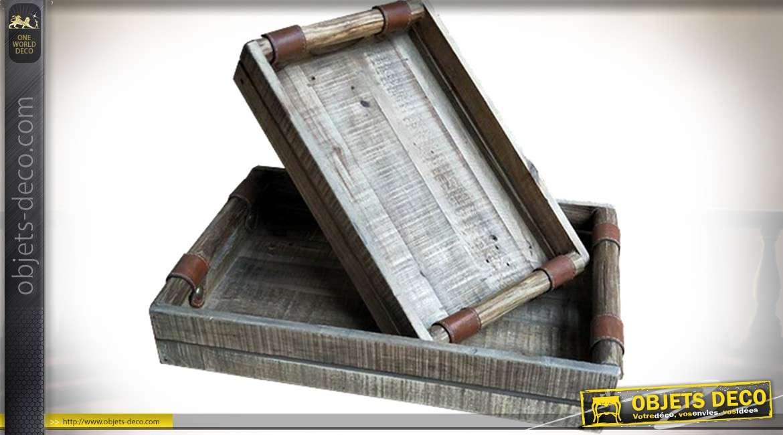 Série de 2 plateaux à rebords en bois vieilli et similicuir marron 54,5 x 34,5 cm
