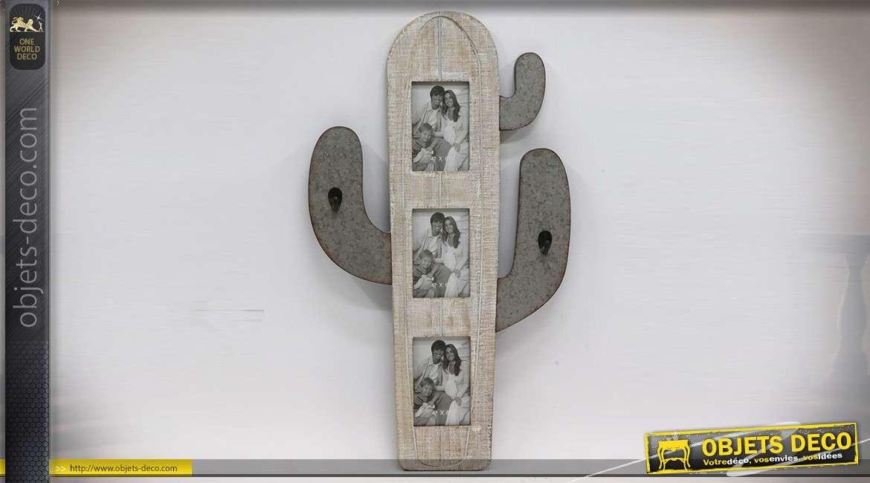 Pêle-mêle à 3 vues en forme de cactus en bois et métal effet vieilli 71 cm