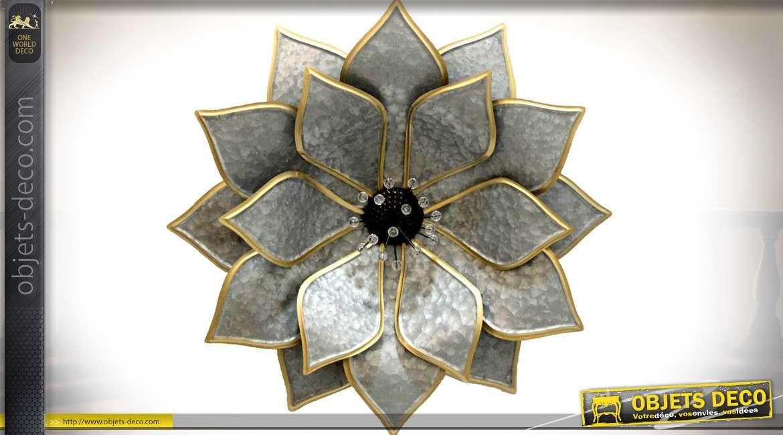 Grande décoration murale en métal en forme de fleur stylisée gris argenté et or
