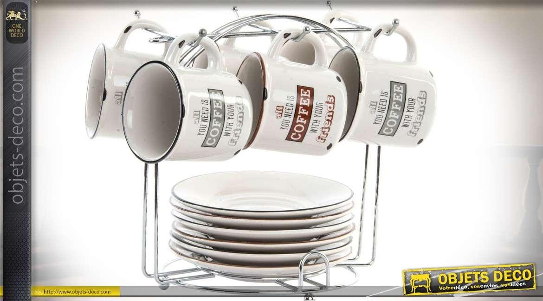 Service de 6 tasses à café rétro en grès avec soucoupes et support en métal