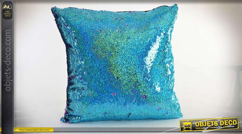 Coussin à paillettes réversible coloris bleu et vert turquoise effet métallisé