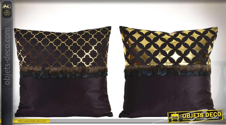 Duo de coussins en velours noir avec motifs effet métal doré et franges