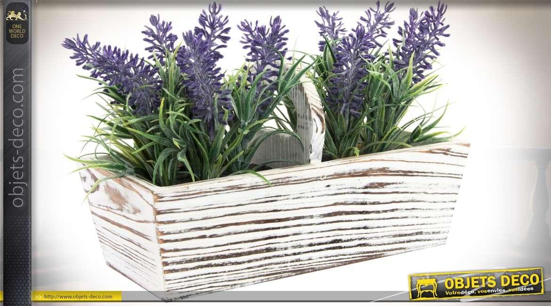 Bac fleurs en bois patine blance vieillie avec plants de lavande artificielle - Plants de lavande a vendre ...