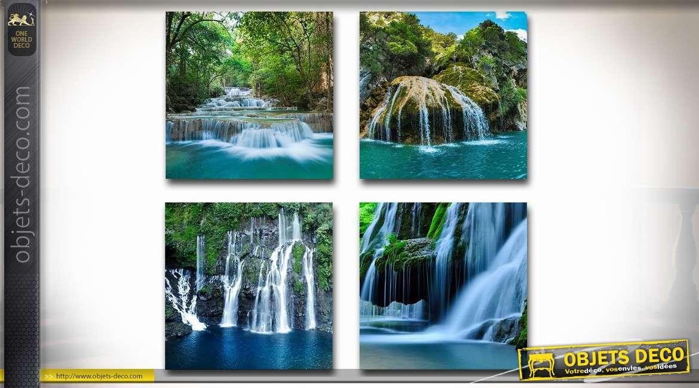 Série de 4 tableaux sur toiles en 40 x 40 cm : torrents et chutes d'eau