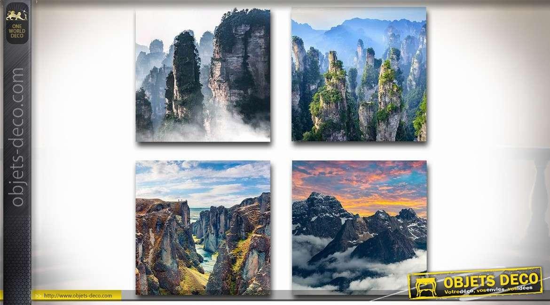 Série de 4 tableaux sur toile : montagnes et canyons 40 x 40 cm