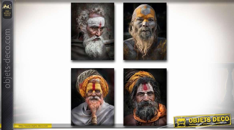 Série de 4 tableaux sur toile thème Inde et personnages 40 x 30 cm