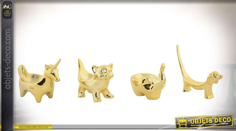 Série de 4 porte-bijoux animaux stylisés en porcelaine finition or brillant
