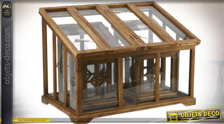 Série de 5 serres et lanternes en bois recyclé, métal et verre 60 cm
