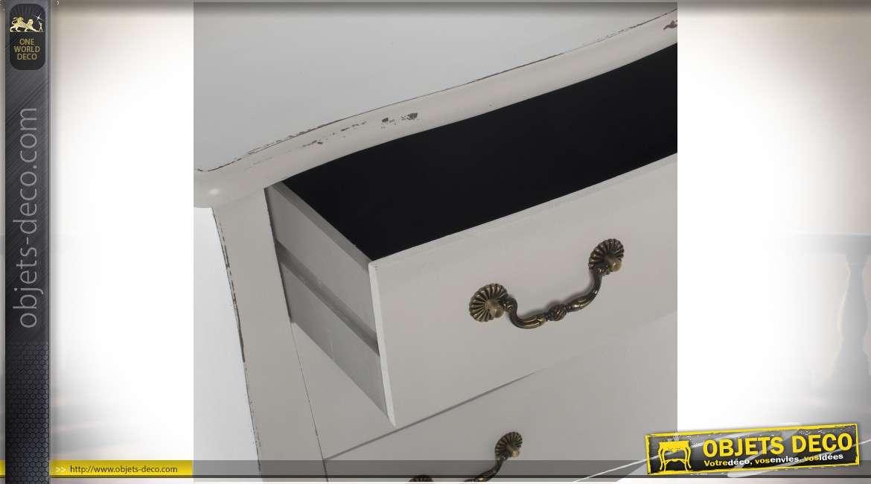 Commode blanche classique à trois tiroirs finition shabby chic