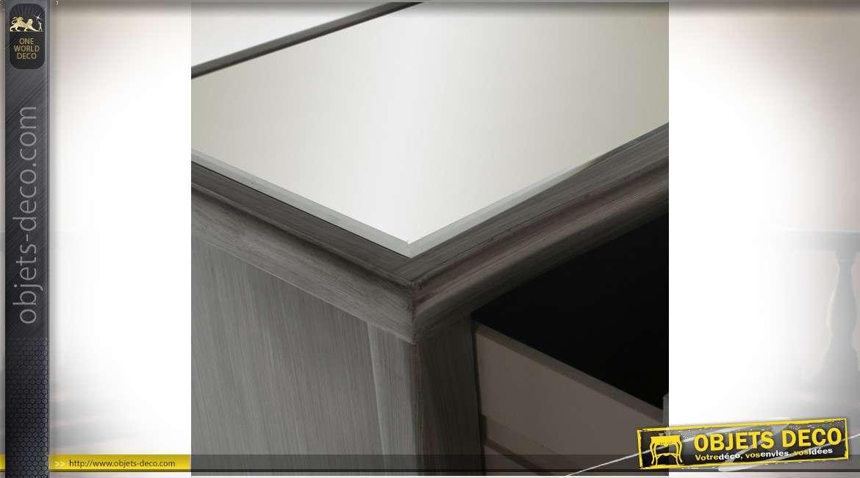 Chiffonnier en bois laqué gris anthracite avec 5 tiroirs à façades en miroirs