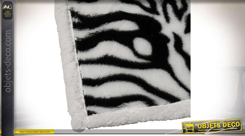 Série de deux plaids effet fourrure de zèbre en polyester 170 x 130 cm