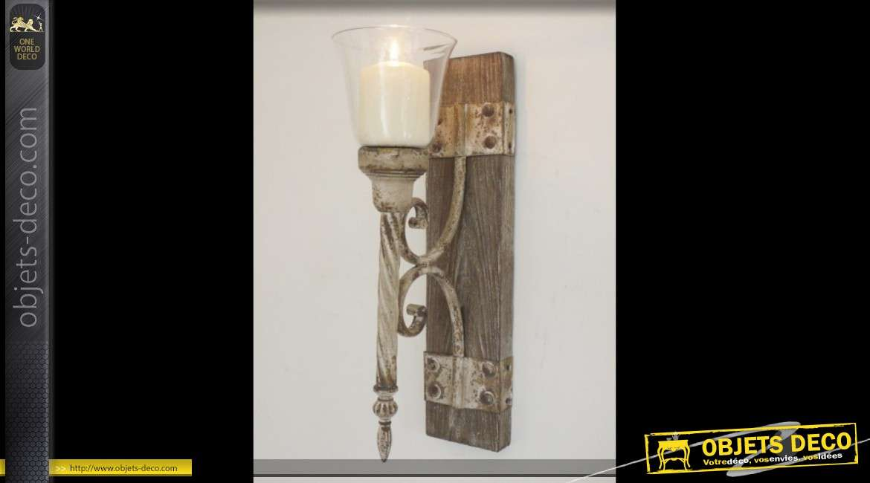 Applique murale en bois, verre et métal de style torche médiéval 45 cm