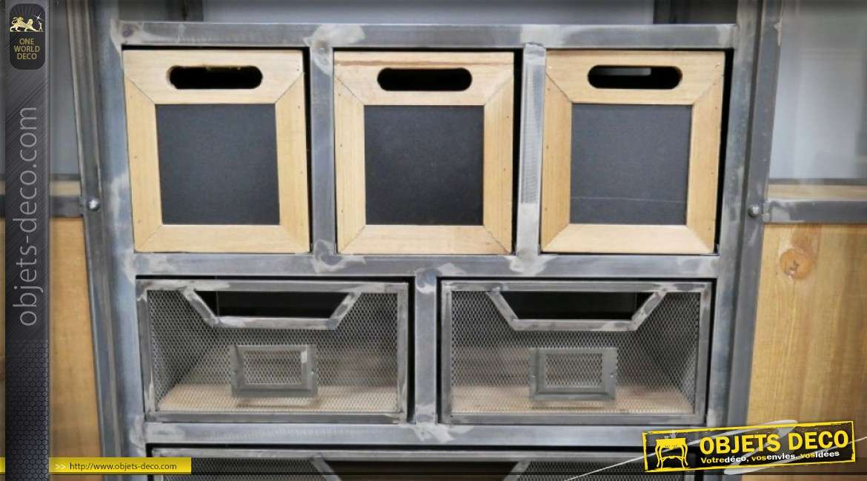 Meuble console bar style wagonnet industriel en bois et métal