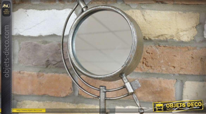 Miroir rétro sur trépied avec finition argentée et vieillie 38 cm