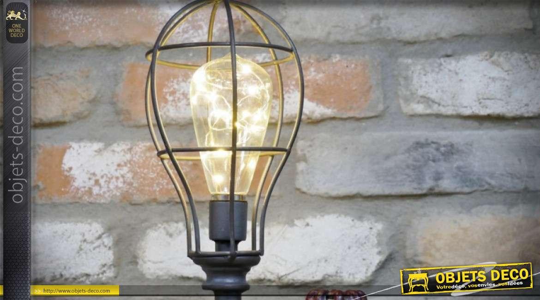 Lampe à poser LED style industriel effet tuyauterie industrielle 58 cm