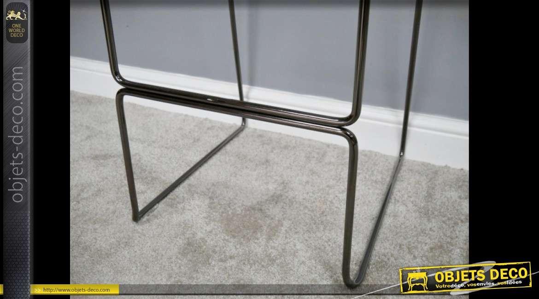 Chaise de bar haute en métal électro-plaqué de chromage argenté noir 85 cm