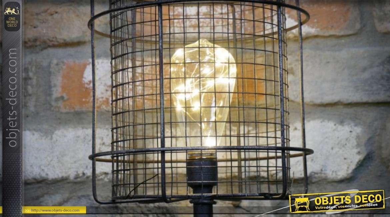 Lampe rétro en métal style machinerie industrielle, avec ampoule LED 56 cm