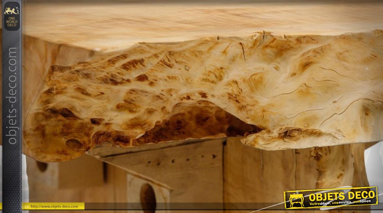 Grande table basse rustique en bois de tamarin brut 180 x 70 cm