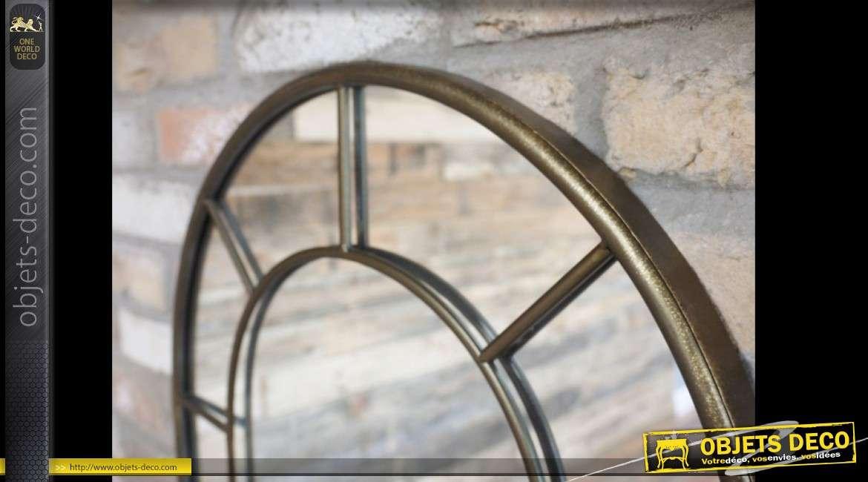 Miroir-fenêtre en métal doré de style rétro en arcade 102 cm