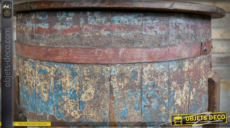 Table basse en forme d'ancien tonneau recyclé fabrication artisanale Ø 76 cm