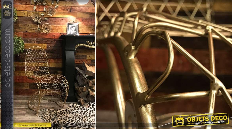 Chaise moderne en métal collection La cage dorée, forme design 88 cm