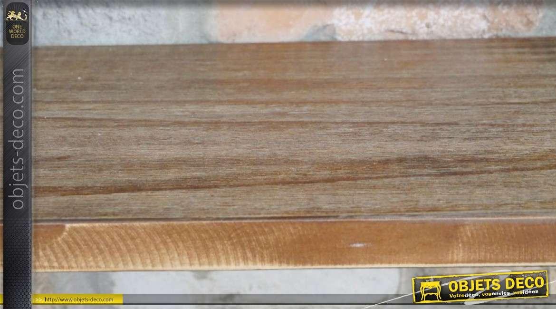 Etagère en bois et métal 3 niveaux, esprit ancienne tuyauterie industrielle