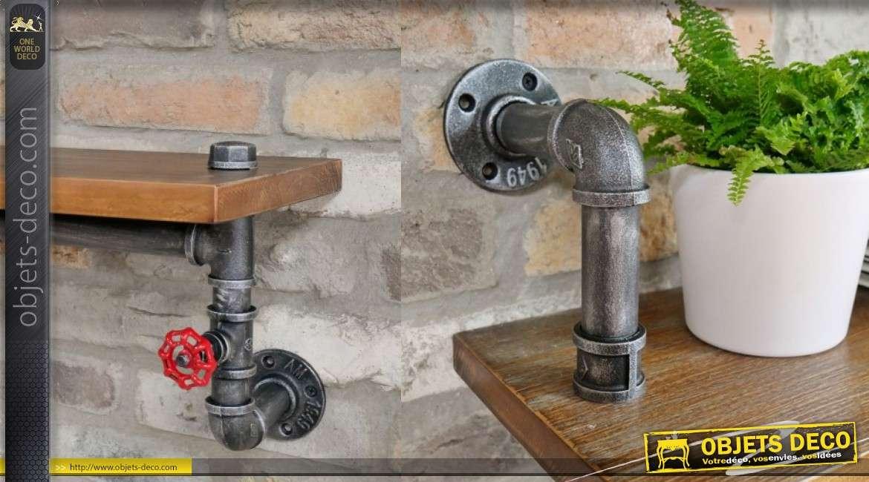 Etagère en bois avec support pipeline en métal, finition ancienne et robinet de fermeture