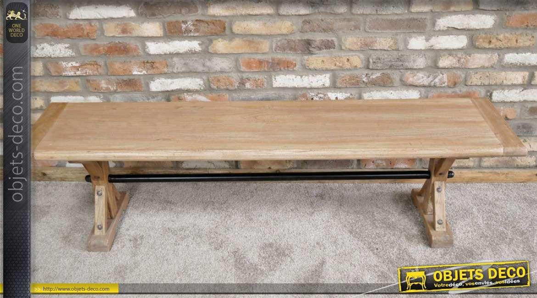 Banc en bois d'orme recyclé, style rustico-moderne 170cm