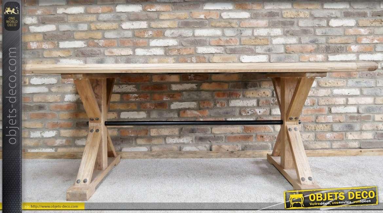 Table en bois d'orme récyclé, style rustico-moderne 200 x 100 cm