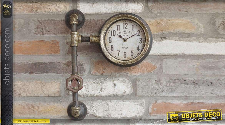 Horloge murale esprit ancien nanomètre en métal, effet ancien doré de style industriel