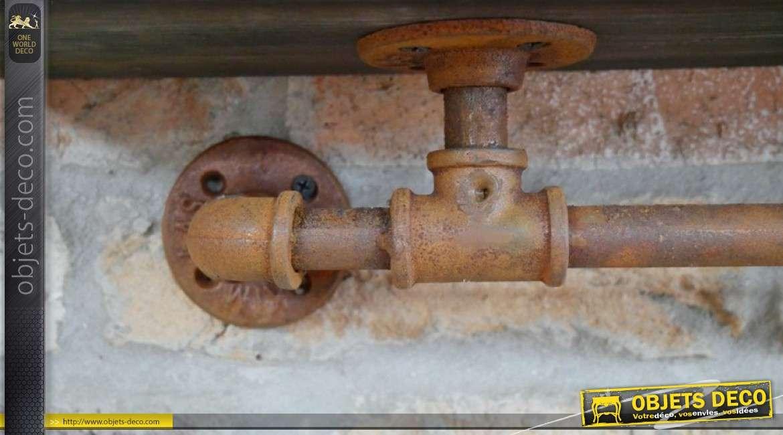 Etagère en bois foncé avec support esprit vieilles canalisations metal rouillé