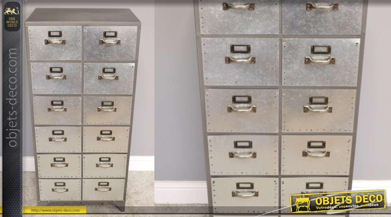 Meuble d'appoint en métal type zinc, 12 tiroirs finition brillante 113cm