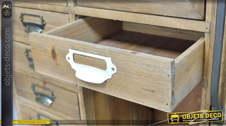 Meuble de salon esprit meuble de métier en bois, 24 tiroirs et 2 portes