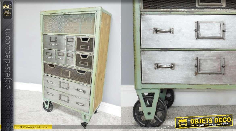 Meuble d'appoint de style industriel, 10 tiroirs et rangement fermé en partie haute