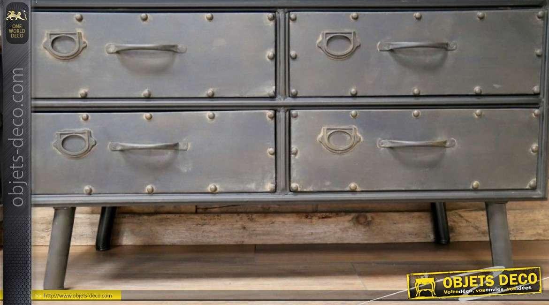 Meuble d'appoint en métal style industriel, 2 portes et 4 tiroirs 113cm